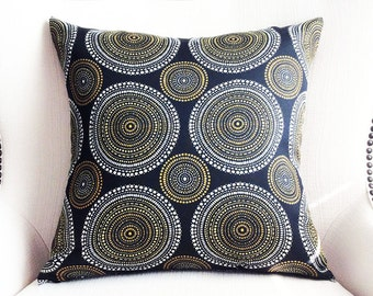 Outdoor pillow cover, Black Yellow White pillow, Cushions cover, accent pillow, All sizes pillows