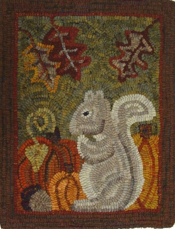 "Rug Hooking PATTERN, Silvia Squirrel, 14"" x 18"", J837, Woodland squirrel, Autumn Rug Design"