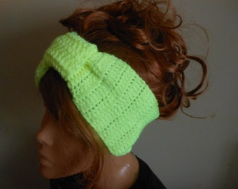 Crochet Headband  Ear Warmer Head Warmer Neon Yellow