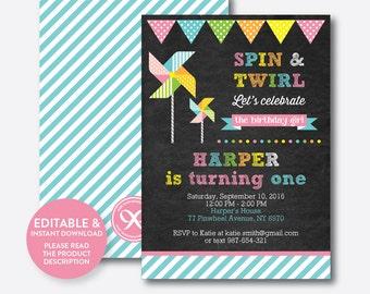Instant Download, Editable Pinwheel Birthday Invitation, Pinwheel Invitation, Pinwheel Party Invitation, Girl Invitation, Chalkboard(CKB.08)