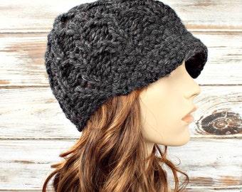 Casquette de Gavroche gris charbon de bois épaisse bonnet chapeau-femmes - Amsterdam Cable Beanie Grey chapeau bonnet gris femmes accessoires