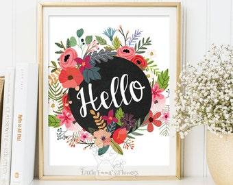 Baby girl nursery, floral print, wall art modern, kids wall art, babys room decor, modern kids decor, inspirational words, art for kids 3-87