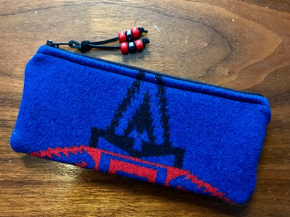 Wool Sunglasses Case / Glasses  Case / Tampon Case / Zippered Pouch Sapphire & Black
