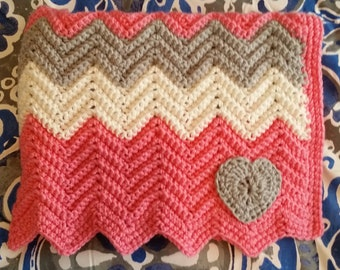 Baby Girl Heart Blanket