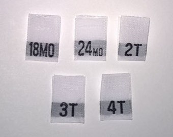 Mixed Toddler Woven Clothing Size Tags Labels 18mo-24mo-2T-3T-4T Qty 100