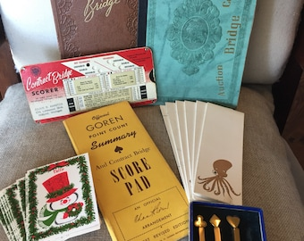 21 Vintage Bridge partial unused tally score pads, cards, scorer, brass pencils - paper ephemera