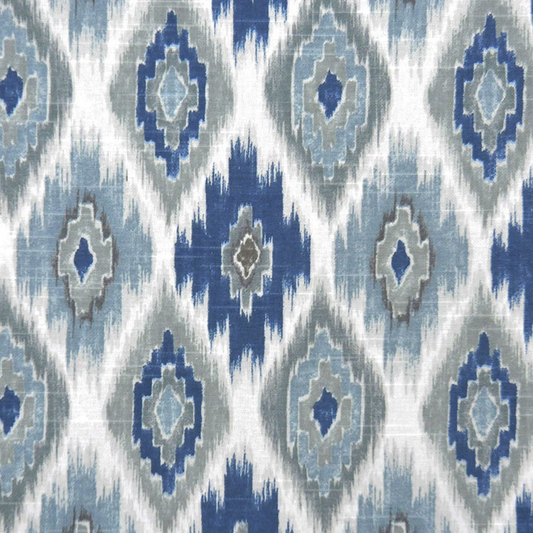 Blue Grey Ikat Upholstery Fabric Denim Blue Cotton Curtain