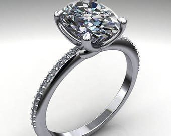 charlize ring - 2 carat oval cut Forever One moissanite engagement ring