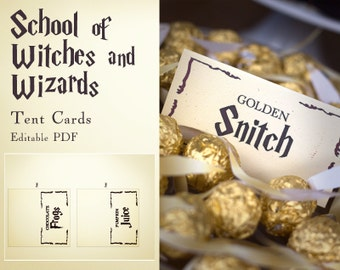 Harry Potter inspired School of witches and wizards - Tent Cards- editable PDF - add your own text - INSTANT DOWNLOAD