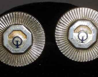 Vintage Optimist International Club Round Cuff Links Gold Tone Cufflinks