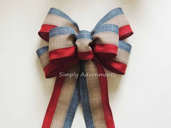 4th of July Wreath Bow July 4th Party Decor Americana Bow Rustic Patriotic Wreath Bow Americana Patriotic Door Hanger Bow Patriotic Gift Bow