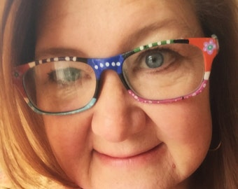 """Handpainted Reading Glasses-  """"the Abby""""  (mauves/teals/burnt orange)  please specify strength - 1.0, 1.50, 2.0, 2.5"""