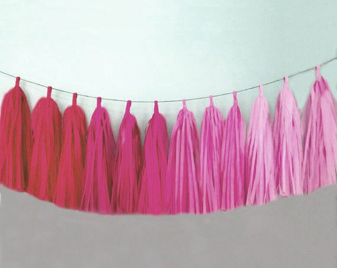 Pink Tassel Garland, Tassel Garland in Pink ombre, Pink Party Decor, pink and Gold Birthday Decor, Pink first birthday decor, Pink Party