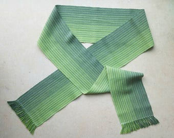 Green Ombre Scarf, Handwoven Cotton & Tencel Scarf, Green Accessories, Medium Weight Woven Scarf, Rustic Chic Winter Accessories, Green Gift