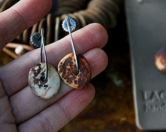 Slices of life - Raised from ashes - Pit fired ceramic on sterling silver earrings - Made to order