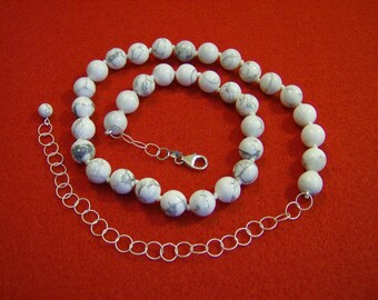 Necklace - Howlite and Sterling Silver