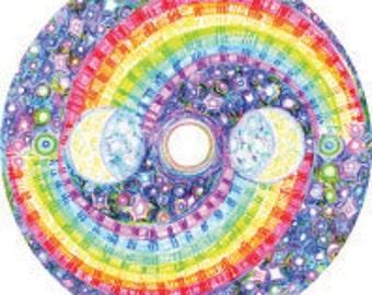 Cosmic Circle, Yin Yang Galaxy, Window cling, Rainbow, Bohemian,Spiritual, Meditation & Yoga, Affordable gift, Glass decor, Eco friendly Art