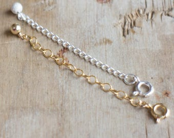 Extender Chain, 14K Gold Fill or Sterling Silver Necklace Extender, Bracelet Extender with Spring Clasp, Adjustable Chain
