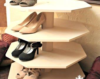 Shoe Storage Spinning Shoe Rack Swivel Shoe Organizer 32 Pairs Unpainted MDF DIY Project