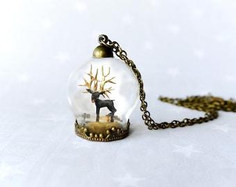 Necklace black deer. Fairy tale necklace