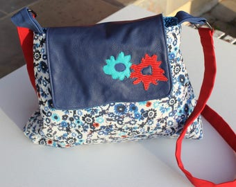 Messenger Style Purse Red White and Blue floral with blue leather flap and flower applique's