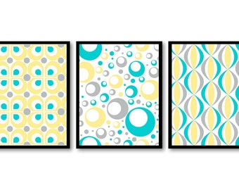 INSTANT DOWNLOAD Blue Turquoise Grey Yellow Art Modern Retro Set of 3 Printable Print Living Room Bedroom Bathroom Wall Decor Pattern