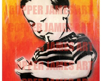 Child Smoking A Cigarette  Spray painted Graffiti Stencil Art Print 11 x 14 (Signed)
