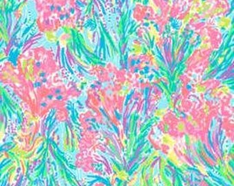 Cotton poplin fabric squares and pieces 6 X 6, 9 X 18  or 18 X 18 inches  Multi Fansea Pants/ pieces   ~Lilly Pulitzer~ Spring 2017