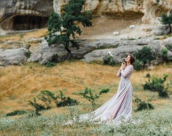 Long sleeve wedding dress, Vintage wedding dress, Gray Grey wedding dress, Winter wedding dress, Lilac Custom wedding dress, 0206 // 2018