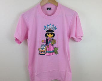 Vintage Deadstock Screen Stars Tucson Princess Pink Graphic T-Shirt - Size 4 Small / Medium - Made in USA