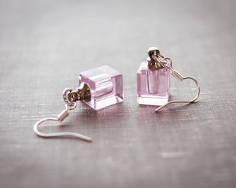 Pink Square Essential Oil Earrings