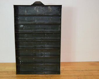 1950'S Industrial Metal Shelf / Drawer