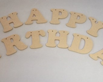 Happy Birthday Wooden Bunting and Jute String - Bunting - Plain MDF Board