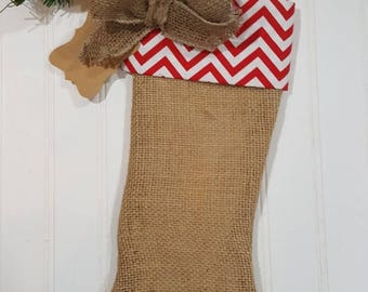 Christmas Burlap Stocking Red And White Chevron Cuff With A Burlap Bow Christmas Decoration