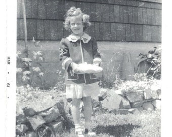 Little Girl Going To Birthday Party Mid-Century Vintage Photo Snapshot 061