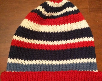XL 100% wool striped hand knit cap   can be fulled or felted