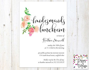 Bridesmaid Luncheon Invitation - Floral Invitation - Bridal Party Invitation - Bridal Luncheon - Welcome Party- Bridal Shower - DIGITAL FILE