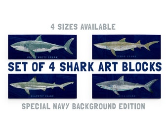 Shark Decor for Kids, Wall Decor, Gift for Him Fishing, Shark Wall Art, Shark Prints, 4 Shark Art Blocks, Shark Nursery