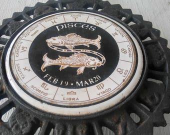 Vintage Pisces Cast Iron Trivet Astrology Gypsy Hippie Witch 1970's Fortune Teller