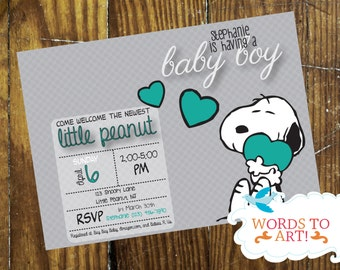 CUSTOM Snoopy Baby Shower Invitations  Boy Or Girl   Pick Your Colors