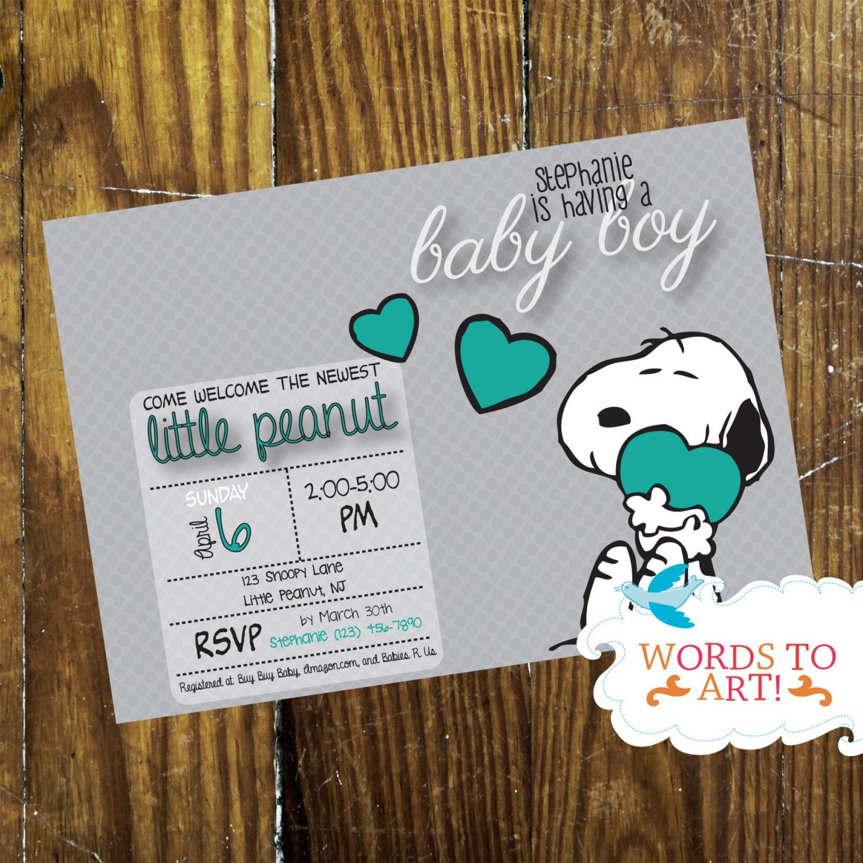 CUSTOM Snoopy Baby Shower Invitations Boy or Girl Pick