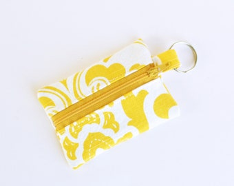 Zippered Pouch, Small Card Case, Ear Bud Case, Yellow Swirls