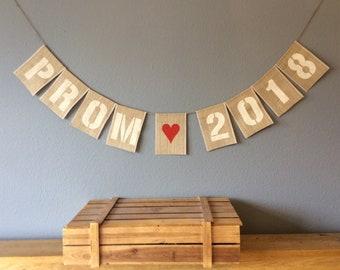 Prom Night Bunting Banner. Vintage Hessian Burlap Rustic