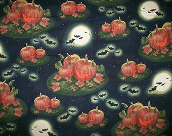 A Gorgeous Pumpkins In The Moonlight Halloween Cotton Fabric By The Yard Free US Shipping