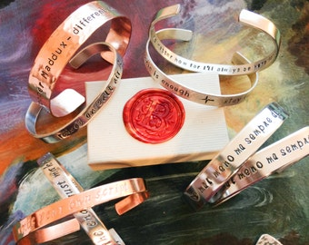 Hand Stamped Bracelet - Custom Hand Stamped Bracelet - Personalized Bracelet Cuff - Song, Name, Quote, Personalized Stamped Bracelet Message