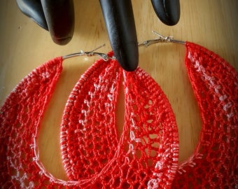 Red LARGE 4inch Crochet Hoop Earrings