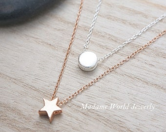 Dainty & Delicate Circle/Star Layering Necklace, Matte Textured