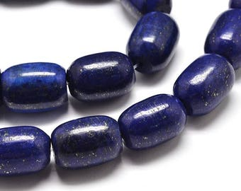 5 beads of lapis lazuli 18x13.5 mm barilet, hole: 2 mm