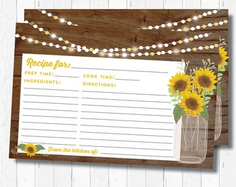 Recipe Card Printable - Sunflowers Recipe Card - INSTANT DOWNLOAD Pdf - Rustic Recipe Card - Mason Jar Recipe Card
