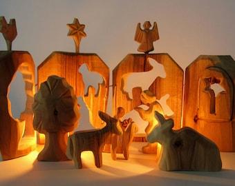 Wooden Nativity, Christmas Creche, Wooden Manger, Carved Nativity, Christmas Crib, Woodcarving, Nativity Set, Holy Family, Christmas